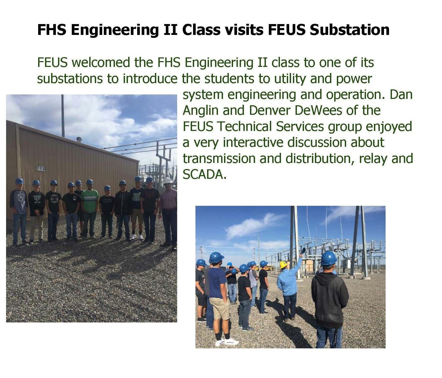 FHS Engineering II Class visits FEUS Substation