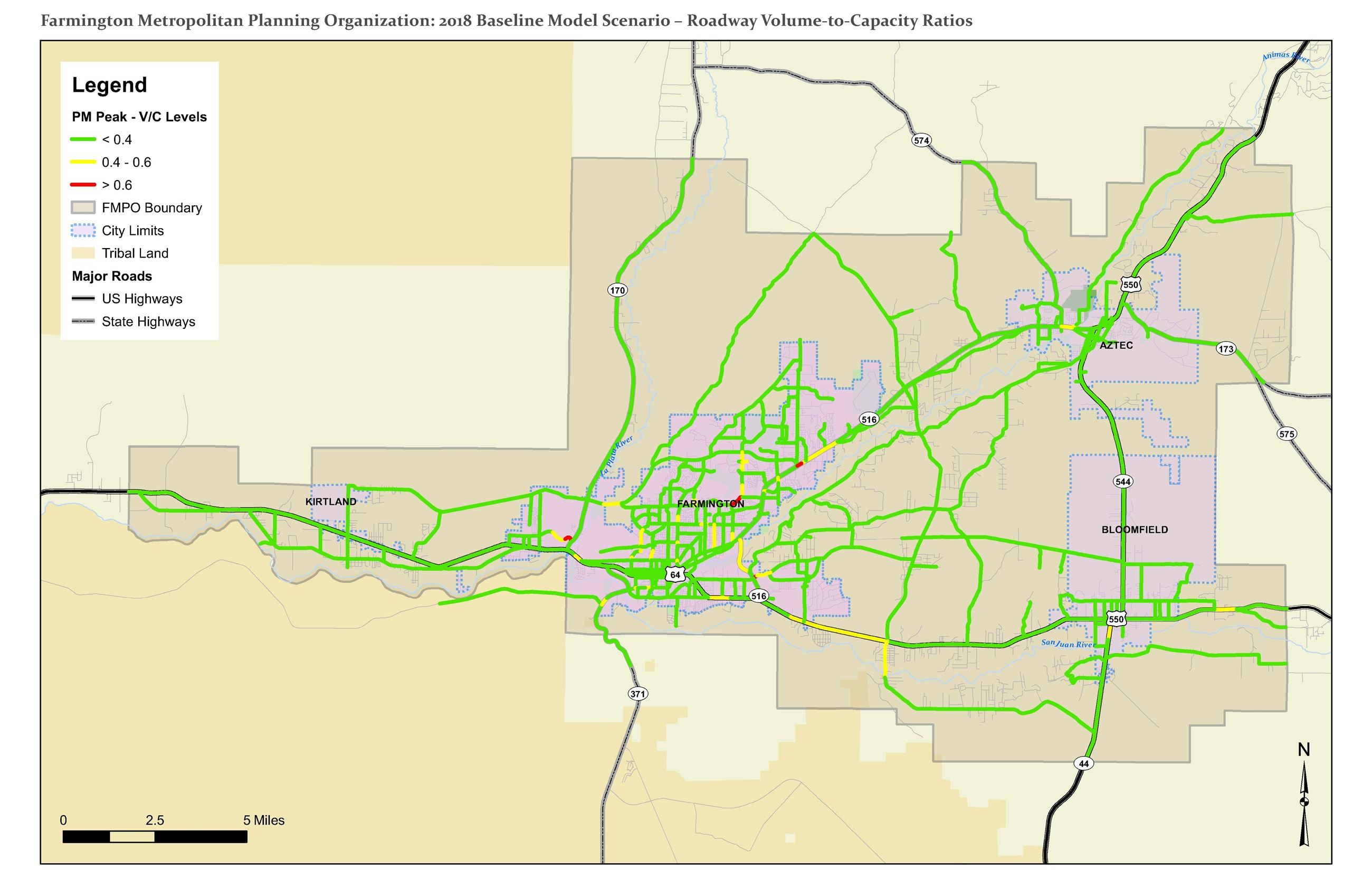 Map - 2018 Baseline Model Scenario - Roadway Volume-to-Capacity Ratios Opens in new window