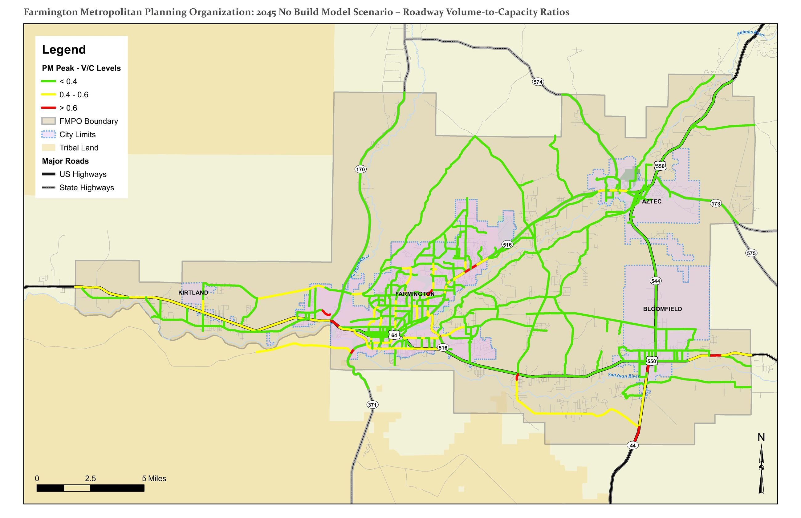 Map - 2045 No Build Model Scenario - Roadway Volume-to-Capacity Ratios Opens in new window