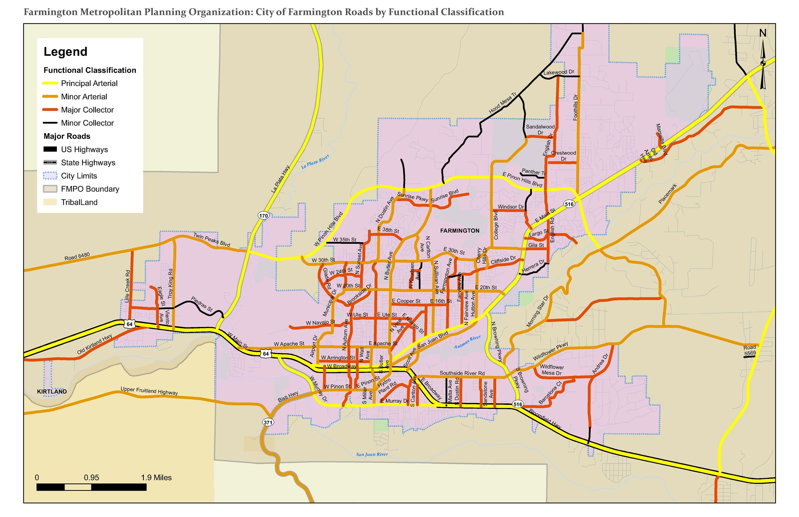 Map - City of Farmington Roads by Funcational Classification Opens in new window