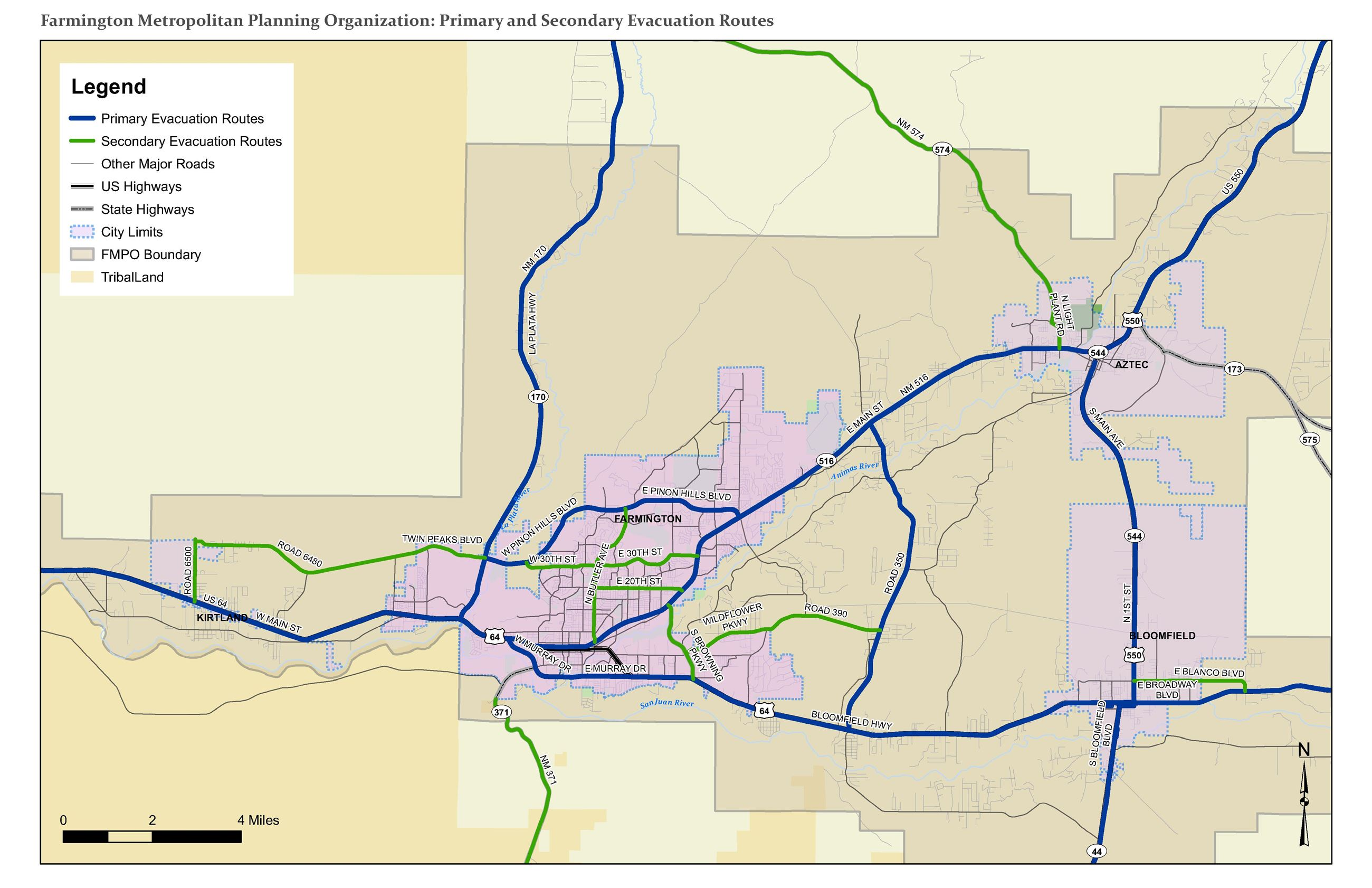 Map - Primary and Secondary Evacuation Routes Opens in new window