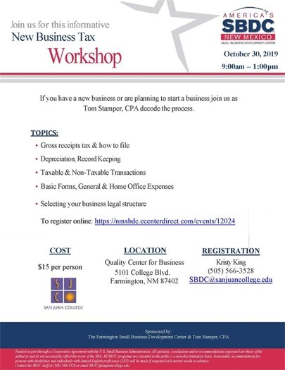 New Business Tax Workshop flyer
