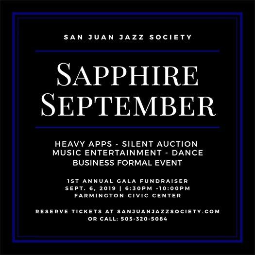 SJJS Sapphire September Fundraiser poster 2019
