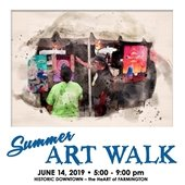 Summer Art Walk. June 14, 219 from 5-9 p,. Historic Downtown Farmington - the HeART of Farmington