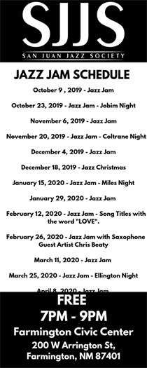 San Juan Jazz Society Jazz Jam 2019 Fall Schedule