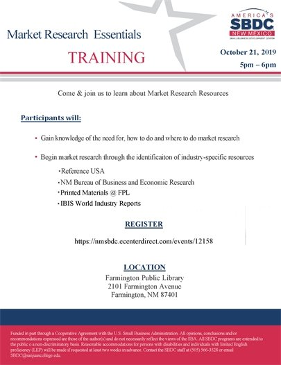Market Research Essentials Training flyer