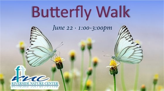 Butterfly Walk on June 22 from 1-3pm at Riverside Nature Center.
