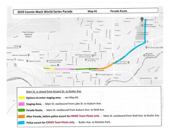 Connie Mack World Series Parade Route Map 2019