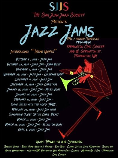 SJJS Jazz Jam Fall Winter schedule poster