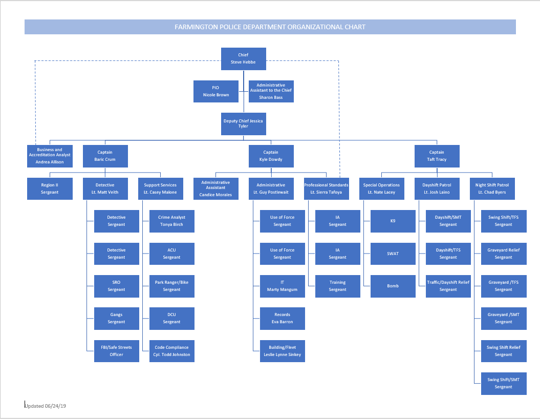 Organizational Chart for the Police Department